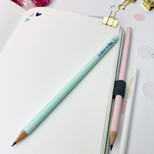 Erzieherin mit Herz - blauer Bleistift